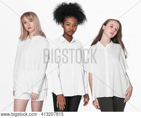 Teenage girls in color shirts for youth basic fashion photoshoot