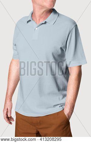 Man wearing basic gray polo shirt apparel