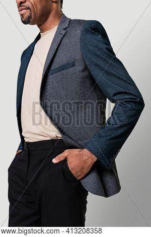 African American man wearing a formal blazer