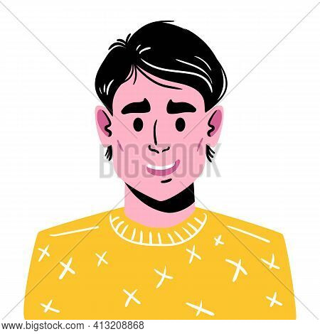 Portrait Of A Young Smiling Guy With A Fashionable Haircut. Illustration Of A Man Avatar In A Yellow