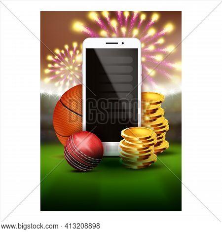 Sport Betting Online App Promotional Banner Vector