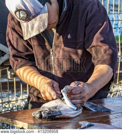 Valparaiso, Chile - 2019-07-30 - Fisherman Filets Freshly Caught Fish.