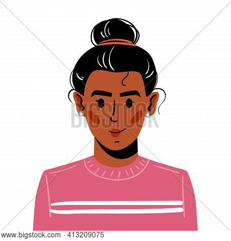 Portrait Of A Young Girl With Hair Gathered In A Bump. Avatar Illustration Of A Smiling African Amer