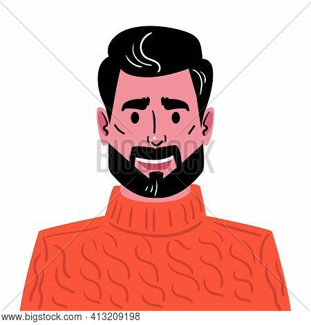 Portrait Of A Young Man With A Fashionable Haircut, Beard And Mustache. Illustration Of An Avatar Of