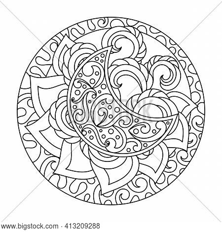 Adult Anti-stress Coloring Book. Fantastic Patterns, Moon And Decorative Abstract Elements, Round Fr