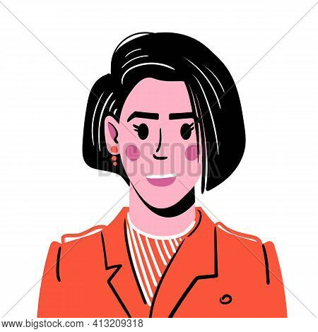 Portrait Of A Young Girl With Dark Hair Of Medium Length. Avatar Illustration Of A Smiling Girl In A