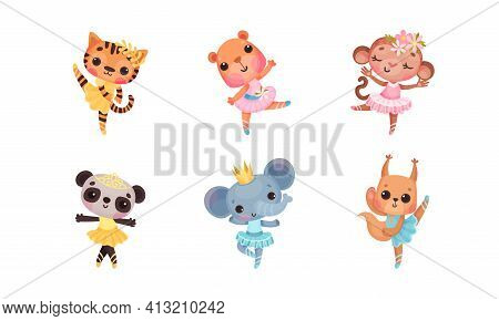 Cute Mammals With Panda And Elephant In Ballerina Dress And Crown On Head Dancing Vector Set