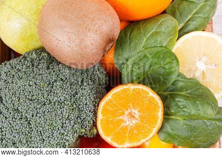 Natural Fruits And Vegetables. Nutritious Food Containing Healthy Minerals And Vitamins