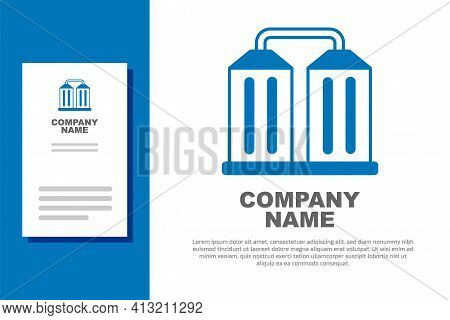 Blue Granary Icon Isolated On White Background. Silo With Grain, Elevator, Granary, Factory. Warehou