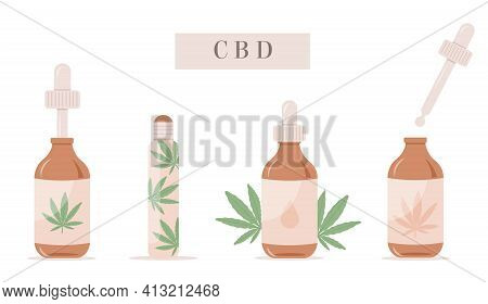 Vector Set Of Cbd Oil Bottles. Remedy For Stress, Anxiety, Pain. Hemp Extracted Roller. Collection O