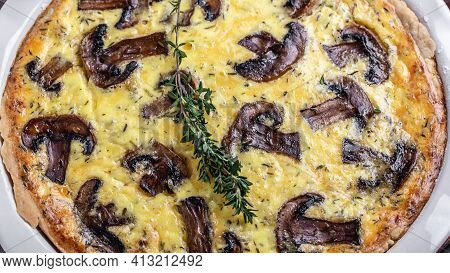 Traditional French Pie Quiche Lorraine Pie With Champignons And Cheese. Savory Tart With Mushrooms.