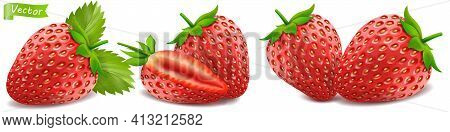 Whole Strawberry And Sliced Half Strawberry. Set Ot Fresh Red Ripe Mellow Berry On White Background.