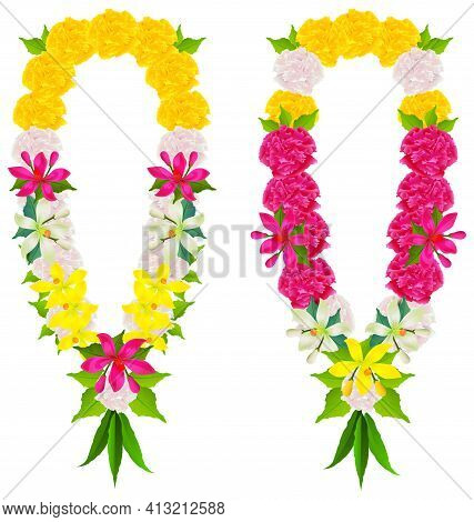 Indian Flower Garland Mala Beads For Wedding Ceremony. Happy Ugadi Religious Holiday Spring New Year