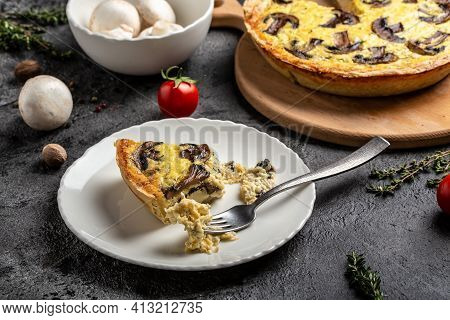 Shepherd's Pie. Traditional French Pie Quiche Lorraine With Chicken, Mushrooms And Mashed Potatoes C