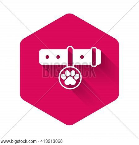 White Collar With Name Tag Icon Isolated With Long Shadow Background. Supplies For Domestic Animal.