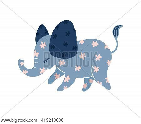 Cute Cartoon Blue Elephant With Pink Flowers. Vector Illustration Isolated On White Background