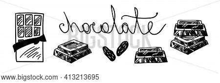 Chocolate Vector Illustration. Opened Chocolate Bar, Chocolate Wedges, Chocolate Pieces, Cocoa Beans