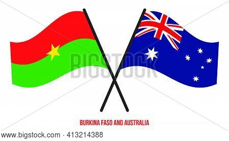 Burkina Faso And Australia Flags Crossed And Waving Flat Style. Official Proportion. Correct Colors.