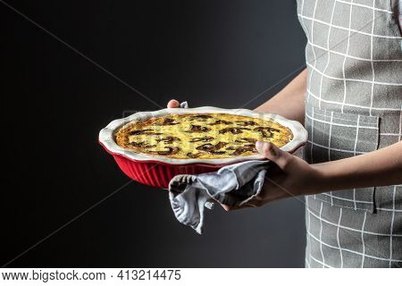 Mushroom Quiche Pie With Champignons And Cheese Oin Women's Hands. Savory Tart With Mushrooms. Frenc
