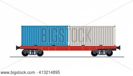 Freight Train Wagon. Railroad Cars Container View From Side. Cargo Train Wagons Isolated On White Ba
