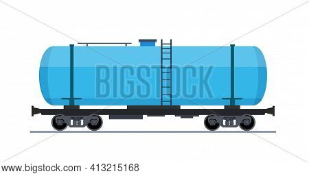 Freight Train Wagon. Railroad Cars Tank View From Side. Cargo Train Wagons Isolated On White Backgro