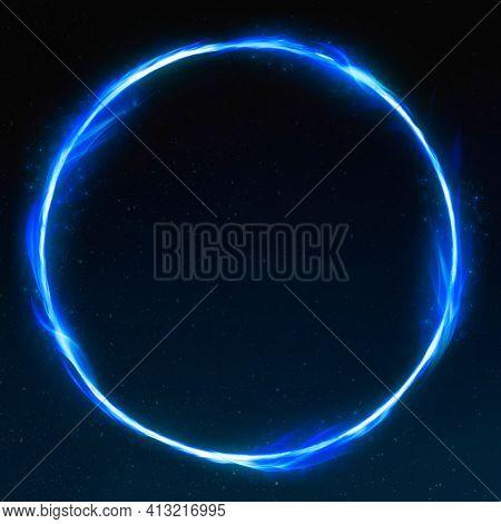 3D retro blue circle fire frame