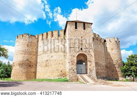 Facade Of Historic Fort In Soroca From Moldova , Before Restoration . Medieval Fortress Tourist Attr