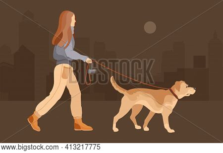 Dog Walking. Dog Sitter. Young Girl Leads A Pet. Vector.