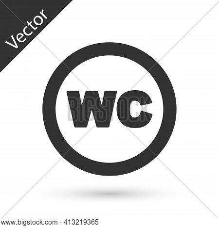 Grey Toilet Icon Isolated On White Background. Wc Sign. Washroom. Vector