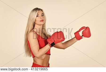 Self Improvement. Personal Training. Fight With Own Complex. Sporty Lifestyle. Sporty Girl Red Cloth