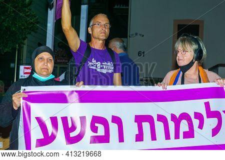 Haifa, Israel - March 17, 2021: Protestors Against Prime Minister Benjamin (bibi) Netanyahu, And A C