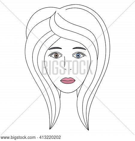 Womans Face. Sketch. The Head Of The Girl In Full Face. Vector Illustration. Haircut For Medium Hair