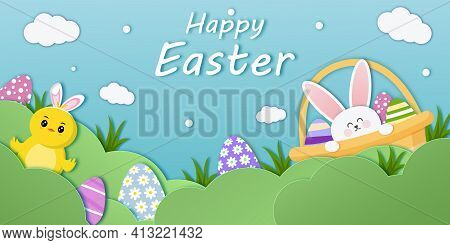 Easter Banner Template With Easter Eggs, Basket, Chicken, Bunny On Light Background. Holiday Greetin