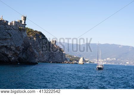 Beautiful Landscape With Yachts On The Sea Against The Background Of The Swallows Nest - An Ancient