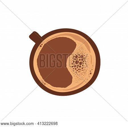 Cup Of Hot Fresh Espresso Or Americano. Mug Of Brown Arabic Coffee With Foam On Top. Colored Flat Ve