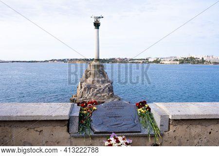 Monument To Sunken Ships In Sevastopol, Crimea Peninsula: Sevastopol, Crimea - September 17, 2020.