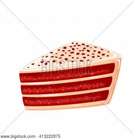 Red Velvet Cake Vector Icon. American Homemade Traditional Dessert.