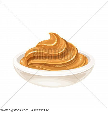 Glass Bowl Of Peanut Butter Vector Icon In Cartoon Style.