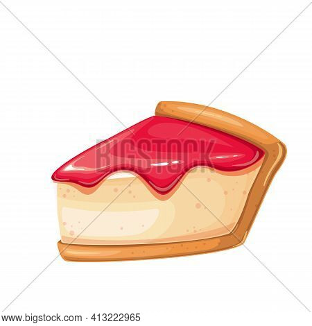 Cheesecake Slice Vector Icon. New York Classic Cheesecake With Jam On Top.