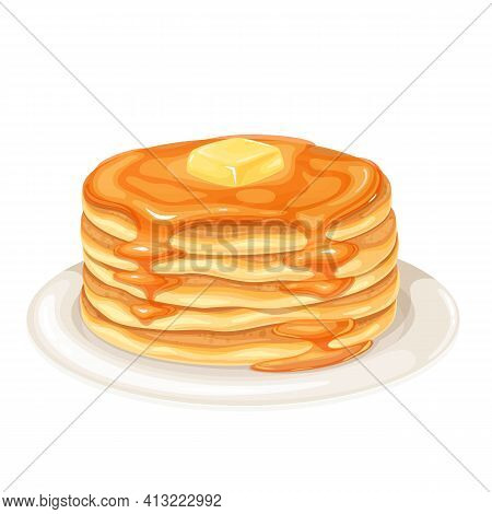 Pancakes With Maple Syrup Vector Illustration. Baking Crepes With Butter On Plate. Breakfast Concept
