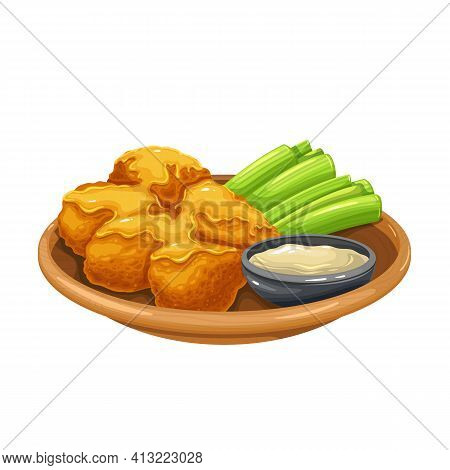 Buffalo Wings Vector Icon. Roasted Chicken Wings With Celery Stalks On A Platter And Sauce.