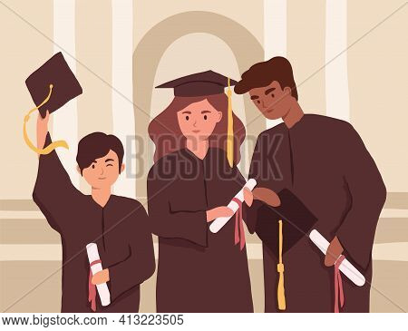 Young Graduates Holding Diplomas During College Graduation. Diverse Students In Caps And Gowns. Mult