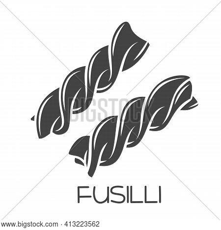 Fusilli Pasta Glyph Icon. Italian Cuisine Cut Monochrome Badge. Retro Style Vector Illustration.