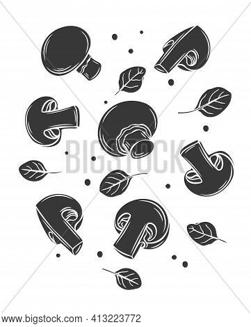 Monochrome Raw Champignons And Basil Leaves Glyph Illustration, Vector Cut Monochrome Composition. N