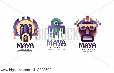Maya Logo Original Design With Ethnic Mask Vector Set