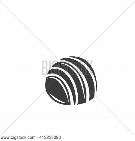 Chocolate Candie Monochrome Glyph Icon, Vector Cut Monochrome Badge. Illustration Of Chocolate In Re
