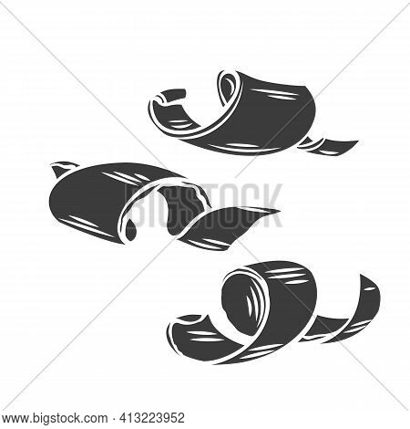 Chocolate Shaving Glyph Icon. Curl, Spiral, Confectionary Ingredient Vector Illustration. Hand Drawn