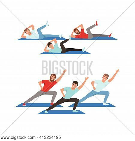 Young Male Doing Abdominal Crunches And Stretching On Mat Vector Set