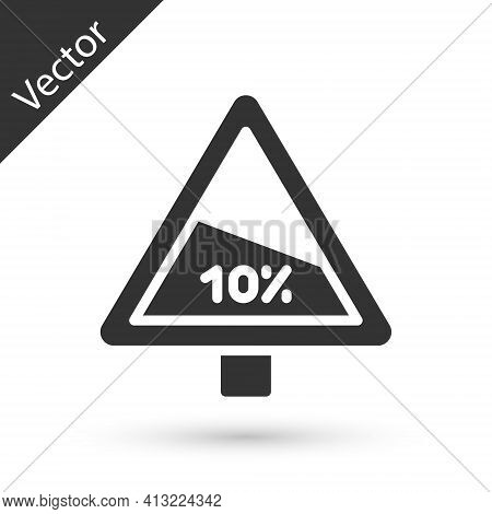 Grey Steep Ascent And Steep Descent Warning Road Icon Isolated On White Background. Traffic Rules An