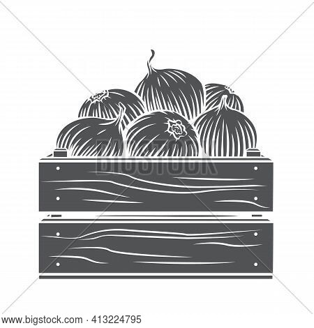 Pile Of Onion Bulbs In Wooden Crate Glyph Icon, Vector Cut Monochrome Badge. Engraved Harvest Of Oni